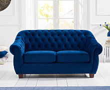 Lacey Chesterfield Blue Plush Fabric Two-Seater