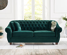 Lacey Chesterfield Green Plush Fabric Three-Seater