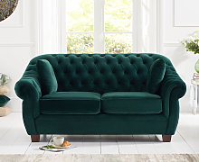Lacey Chesterfield Green Plush Fabric Two-Seater