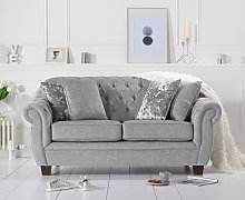 Lacey Chesterfield Grey Plush Fabric Two-Seater