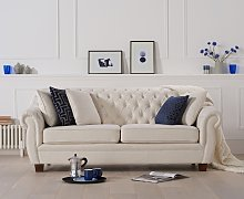 Lacey Chesterfield Ivory Linen Fabric Three-Seater