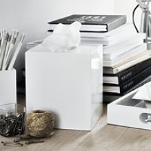 Lacquer Tissue Box Cover, White, One Size