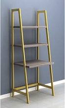 Ladder Desk with 3 Shelves in Grey Wash and Gold