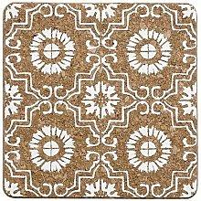 Ladelle Fiesta Tile Square Cork Trivet – White