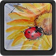 Ladybird On The Sunflower, 3 Pcs Crystal Class