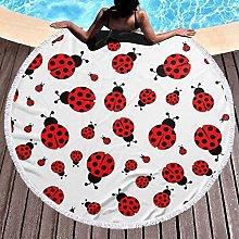 Ladybug Printed Round Beach Towel Yoga Picnic Mat