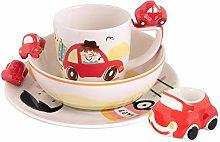 Laeto Kids Red Car Plate Bowl Mug Egg Cup Se