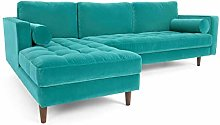 LAFII.T Mid-Century Modern Velvet Sofa Loveseat