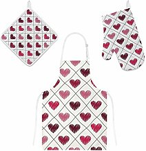 Lafle Oven Gloves Insulation Pad Apron Checkered