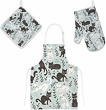 Lafle Oven Gloves Insulation Pad Apron Cute Cats