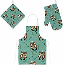 Lafle Oven Gloves Insulation Pad Apron Cute Couple