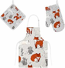 Lafle Oven Gloves Insulation Pad Apron Fox and