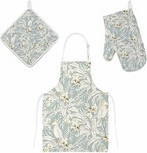 Lafle Oven Gloves Insulation Pad Apron Leaves and