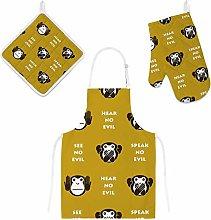 Lafle Oven Gloves Insulation Pad Apron Monkeys