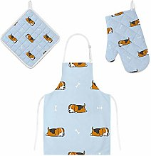Lafle Oven Gloves Insulation Pad Apron Sleeping