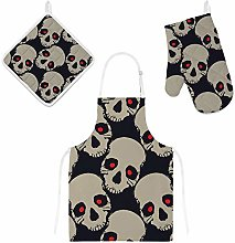 Lafle Oven Gloves Insulation Pad Apron Spooky