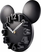 Lafocuse 3D Mouse Kids Wall Clock Matte Black