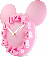 Lafocuse 3D Mouse Kids Wall Clock Sweet Pink