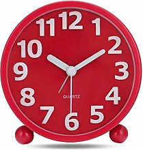 "Lafocuse 4"" 3D Numerals Metal Alarm Clock Red"
