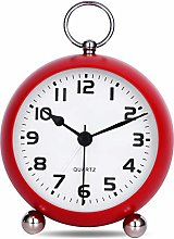 "Lafocuse 4"" Red Metal Alarm Clock with"
