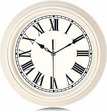 Lafocuse Beige White Wall Clock Silent Roman