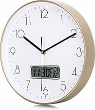 Lafocuse Gold Wall Clock with Date and Day of Week