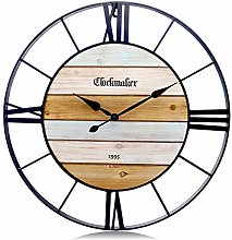 Lafocuse Large Black Wall Clock Metal 60cm Silent