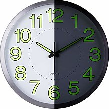 Lafocuse Metal Luminous Wall Clock Silver Silent
