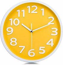 Lafocuse Modern Yellow Wall Clock for Kitchen 30cm