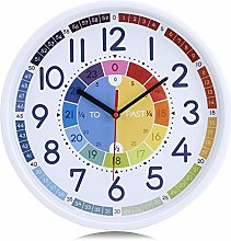 Lafocuse Rainbow Wall Clock for Kids Learning to