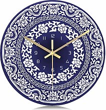 Lafocuse Retro Blue and White Glass Wall Clock