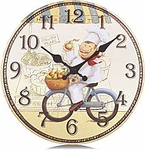 Lafocuse Rustic Yellow Wall Clocks for Kitchen