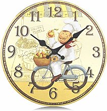 Lafocuse Shabby Wooden Kitchen Wall Clock