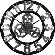 Lafocuse Silver Steampunk Gear Wall Clock 45cm