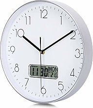 Lafocuse Silver Wall Clock with Date and Day of