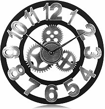 Lafocuse Wood Large Gear Wall Clock Industrial