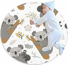 laire Daniel Koala And Flowers Round Area Rug Soft