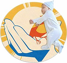 laire Daniel Yellow Bird In Hand Poster Round Area