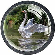 Lake Swan Crystal Drawer Handles Furniture Glass
