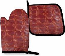 LAKILAN Crocodile Skin Red Anti-Slip Oven