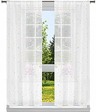 Lala + Bash Print Window Curtain Set, White-Gold,