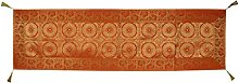 Lalhaveli Indian Brocade Design Silk Orange Coffee
