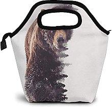 LALLRI Brown Bear Forest Lunch Bag Cooler Bag