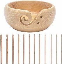 LAMXD Wooden Yarn Bowl, Yellow,Knitting Wool