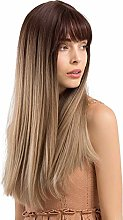 Lanbowo Women Ombre Brown Yellow Long Straight Wig