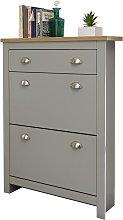 Lancaster 2 Door 1 Drawer Shoe Cabinet - Grey