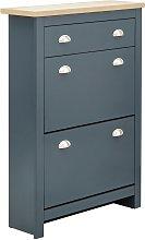 Lancaster 2 Door 1 Drawer Shoe Cabinet - Slate Blue