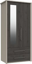 Lancaster 2 Door 2 Drawer Mirror Wardrobe - Dark