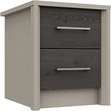 Lancaster 2 Drawer Bedside Table - Dark Grey