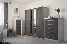 Lancaster 3 Door Mirror Wardrobe - Grey